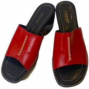 A. GIANNETTI Red Italian Leather Wedged Mules